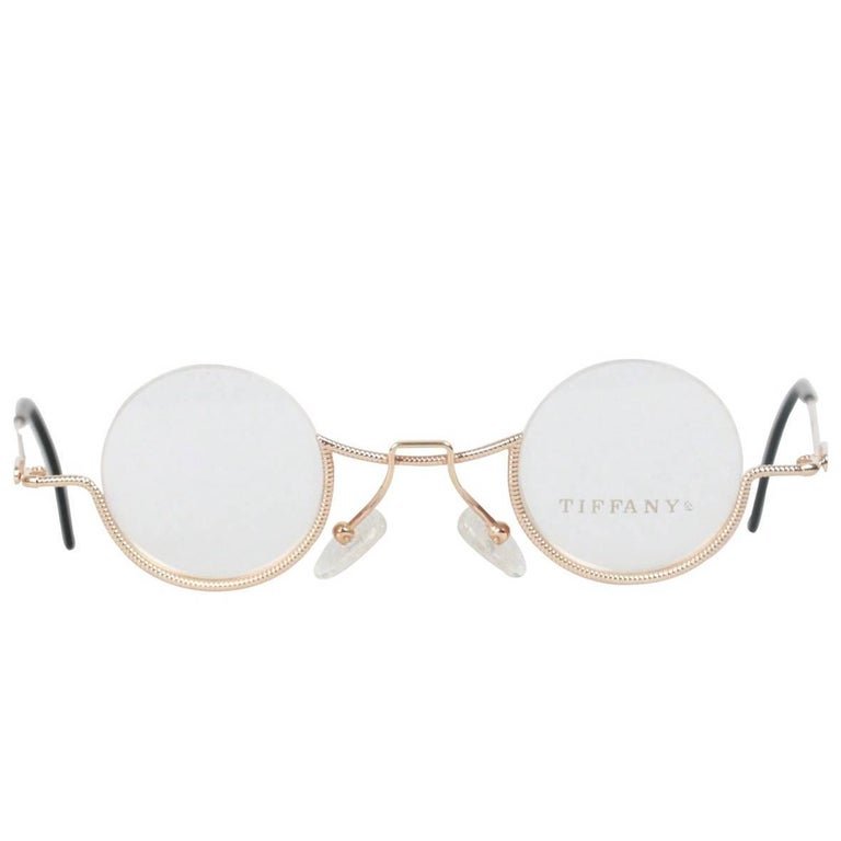 e5c26cd1b3d6 TIFFANY and Co. VINTAGE RARE Round Eyeglasses T64 23K Gold 37 11 at ...