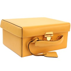Mark Cross Grace Small Yellow Saffiano Leather Box Structured Handbag