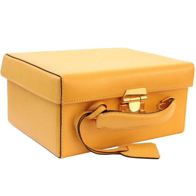Mark Cross Grace Small Yellow Saffiano Leather Box Structured Handbag  1