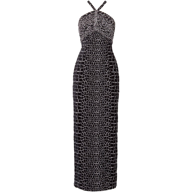 Louis Feraud, black & white gown, circa 1974 For Sale