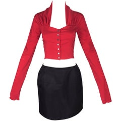 1992 Dolce & Gabbana 50's Pin-Up Style Red Crop Top & Down Puffy Mini Skirt Set