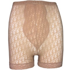 1990s Christian Dior Pin-Up Sheer Nude Monogram Mesh and Lace High Waist Shorts