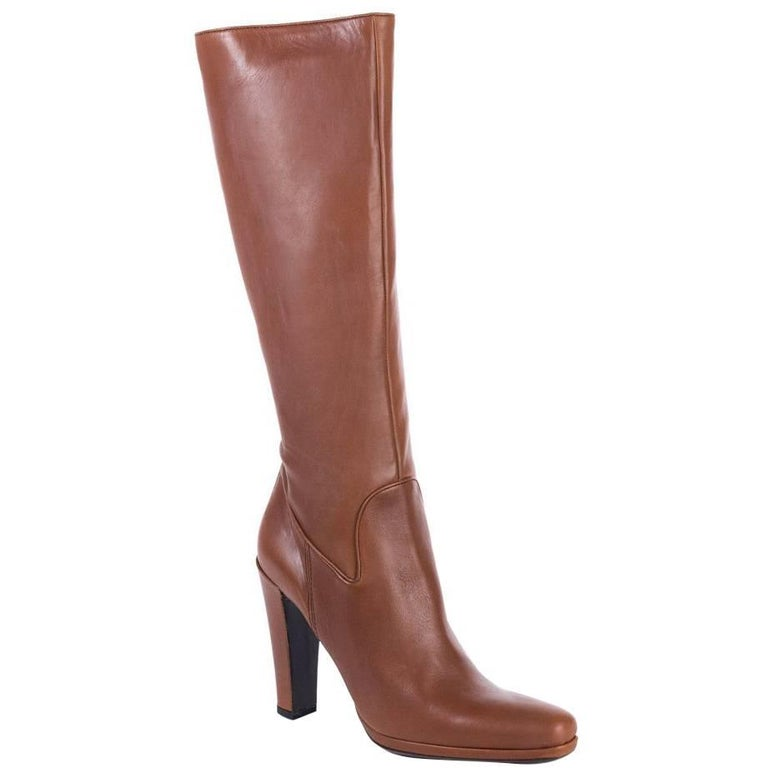 car shoe s cognac leather knee high boots for sale