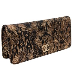 Chanel Metallic Gold Leather and Black Lace Clutch Matelasse Evening Bag 2010