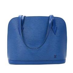 Vintage Louis Vuitton Lussac Blue Epi Leather Large Shoulder Bag