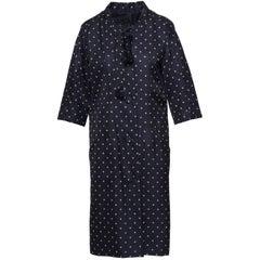 1950s Fercioni Italian Couture Black Polka Dot Tent Overcoat