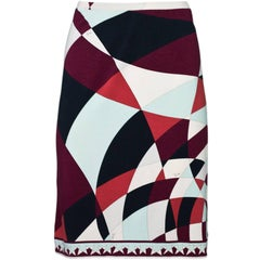 Emilio Pucci Brown Ivory and Blue Skirt Size 10