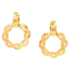 Chanel Gold Textured Braided Round 2 in 1 Huggie Hoop Evening Earrings in Box