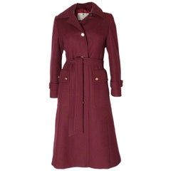 Burgundy Wool Coat by Aquascutum