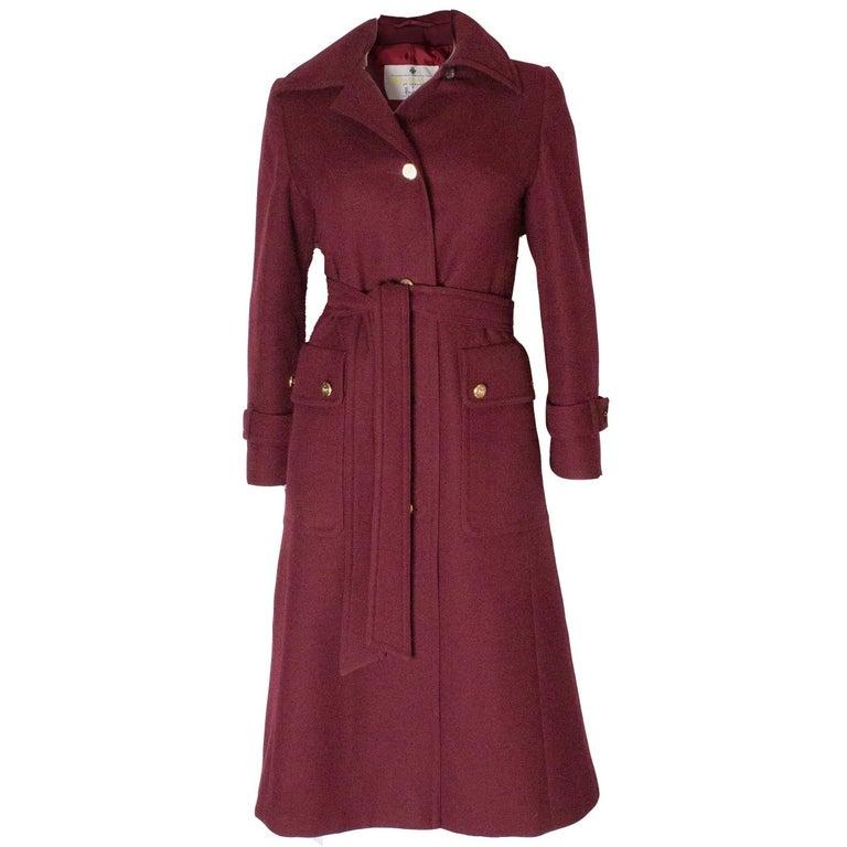 Burgundy Wool Coat by Aquascutum For Sale