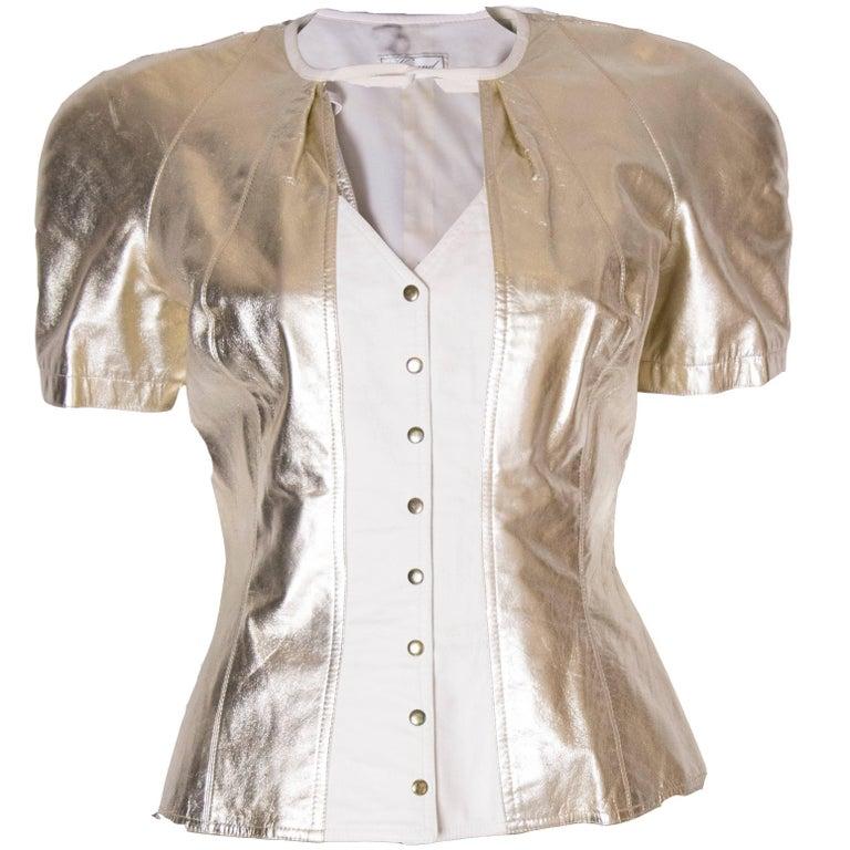 Wynard White and Gold Leather Jacket