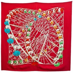 Hermes Red White and Blue Grand Roue Ferris Wheel 90cm Silk Scarf