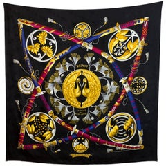 Hermes Black and Gold Princes du Soleil Levant Jacquard Silk 90cm Scarf