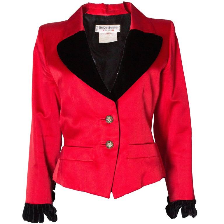 Yves Saint Laurent Rive Gauche Red Vintage Jacket For Sale