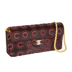 "Iconic Chanel ""Coco"" Logo Pony Hair Leather Handbag Clutch"