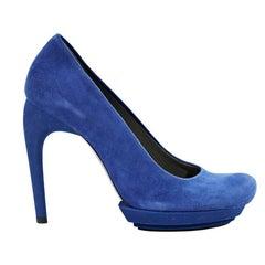 Cobalt Blue Balenciaga Suede Platform Pumps