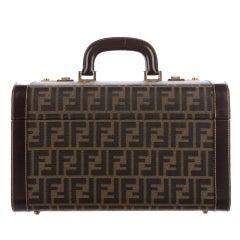 Fendi Monogram Canvas Travel Storage Vanity Jewelry Top Handle Satchel Bag
