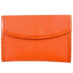 Hermes Orange Leather Crocodile Trim Envelope Evening Clutch Flap Bag