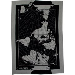 Chanel Gray Black Silk and Wool Men's Home Decor Couch Chair Throw Blanket