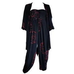 Vintage 1970s Disco Tube Dress Black Studio 54 Red Clown Design and Jacket