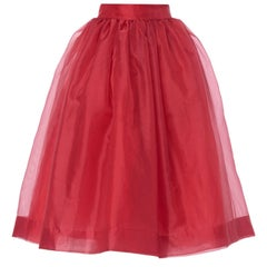 Givenchy Red Organza Skirt with Matching Scarf Tie Belt, circa 1968