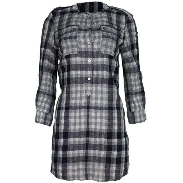 Burberry Brit Black & Grey Plaid Tunic Sz M