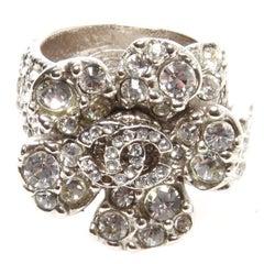 Chanel Swarovski Crystal Camellia CC Ring