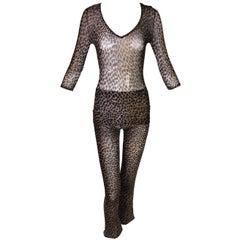 1990s Dolce & Gabbana Sheer Mesh Leopard Blouse Top and Pant Ensemble XS/S