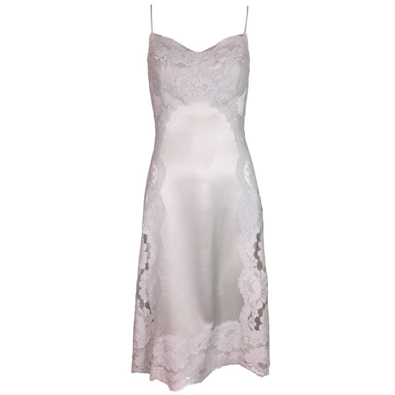 F/W 2015 Dolce & Gabbana Haute Couture Alta Moda OOAK Sheer Lace Slip Dress For Sale