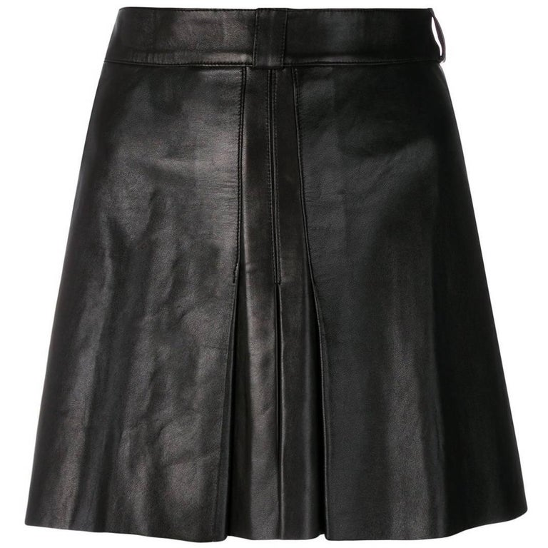 Jean Claude Jitrois Leather Black Skirt