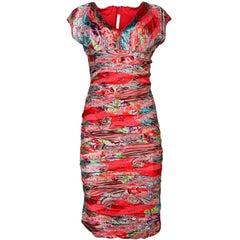Naeem Kahn Coral Red Silk Floral Dress Size 12