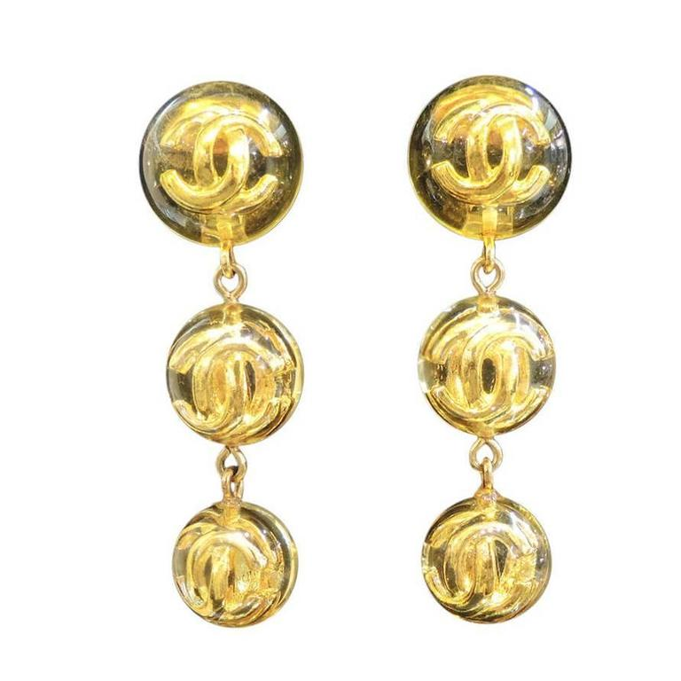 Chanel Season 25 CC Logo Vintage Earrings For Sale
