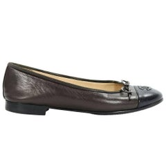 Brown Chanel Leather Cap-Toe Ballet Flats