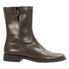 Brown Chanel Leather Mid-Calf Boots