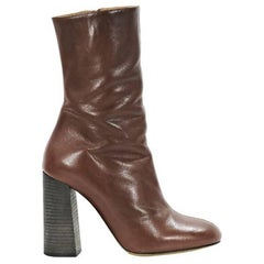 Brown Chloe Mid-Calf Leather Boots