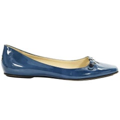 Blue Jimmy Choo Patent Leather Flats
