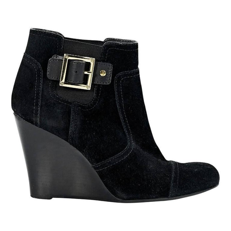 black burch suede wedge ankle boots for sale at 1stdibs