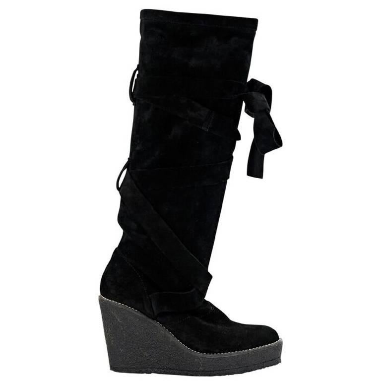 Black Robert Clergerie Suede Wedge Boots