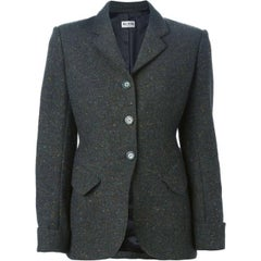 1980s Azzedine Alaia Green Tweed Jacket