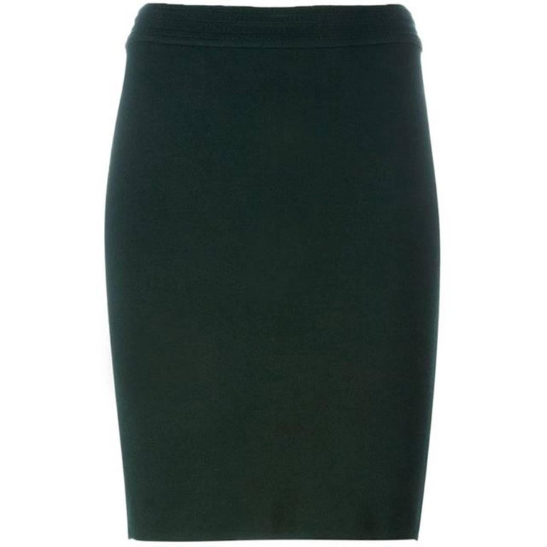 1980s Azzedine Alaia Green Pencil Skirt