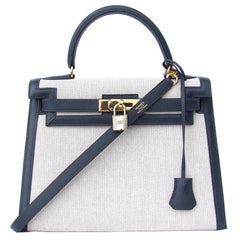 Hermes Kelly 28 Sellier Bag Toile Canvas Courchevel Epsom Navy Blue Leather GHW
