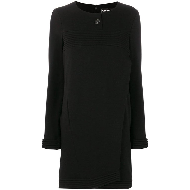 Chanel Long Sleeve Black Dress For Sale