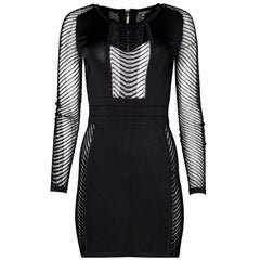 Balmain Black Bodycon Open-Knit Dress Size FR36