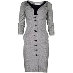 Christian Dior Black and White Silk Herringbone Button-Up Dress