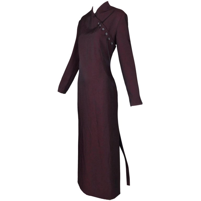 "F/W 1998 Alexander McQueen ""Joan"" Catholic Oxblood Red Long Gown Dress"