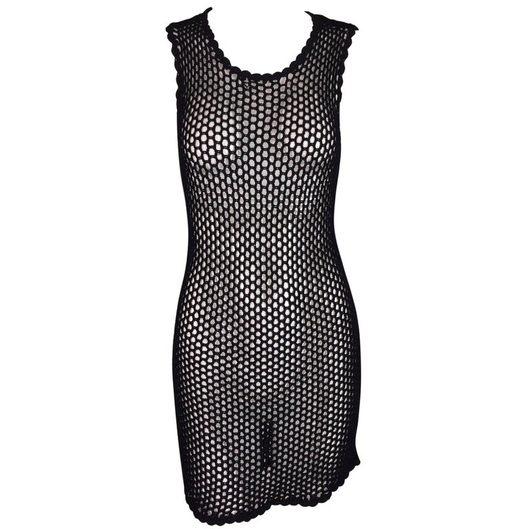 2001 Dolce & Gabbana Black Sheer Fishnet Mesh Mini Dress 42 XS-L