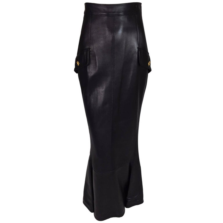 F/W 1992 Gianni Versace Bondage Black Leather High Waist Long Mermaid Skirt