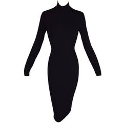 1996 Dolce & Gabbana Black Bodycon Choker Backless Wiggle Stretch Dress 44 M