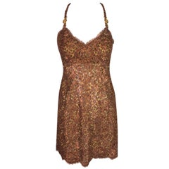 S/S 1996 Atelier Versace Runway Gianni Sheer Leopard and Bronze Lace Mini Dress