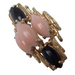 Angel Skin Coral & Jet Stone 14k Ring Size 7.25
